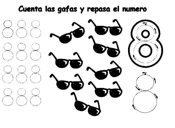 Learn Number 8 With Eight Sunglassess Coloring Page