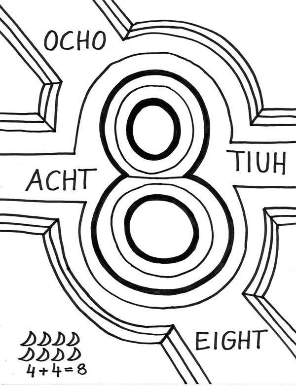Learn Number 8 With Several Language Coloring Page