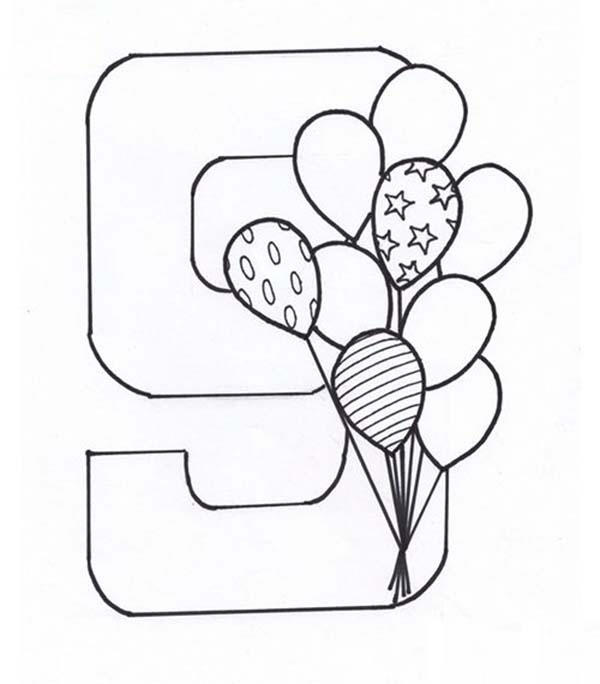 Learn Number 9 With Nine Balloons Coloring Page