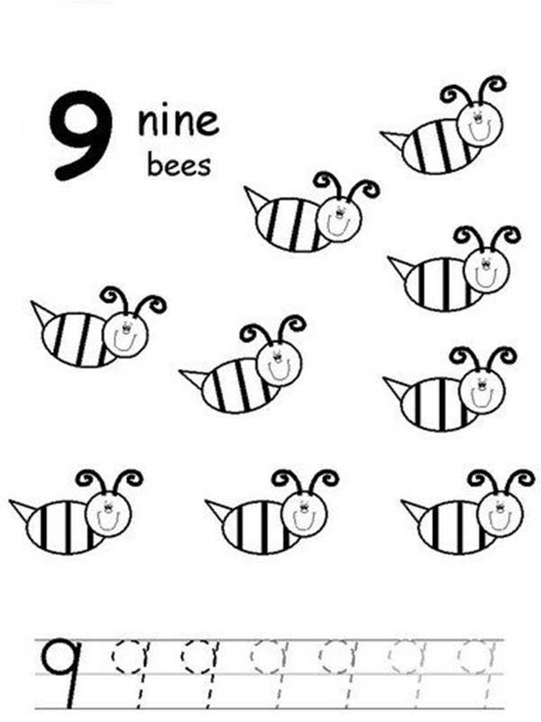 Learn Number 9 With Nine Bees Coloring Page