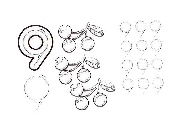 Learn Number 9 With Nine Berries Coloring Page