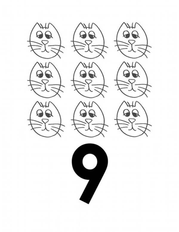 Learn Number 9 With Nine Cats Coloring Page