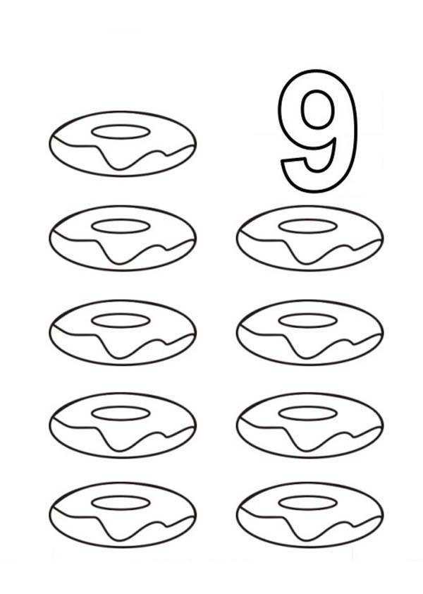 Learn Number 9 With Nine Donuts Coloring Page