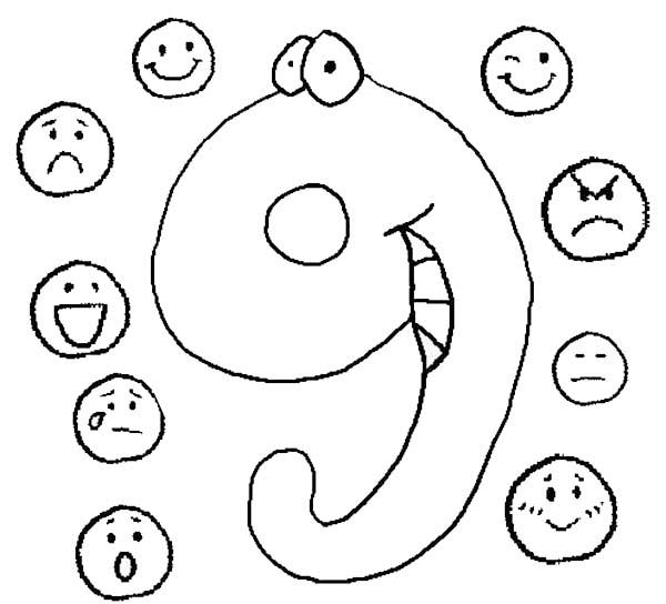 Learn Number 9 With Nine Emoticons Coloring Page
