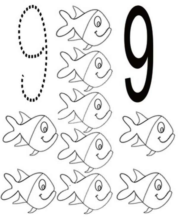 Learn Number 9 With Nine Fishes Coloring Page