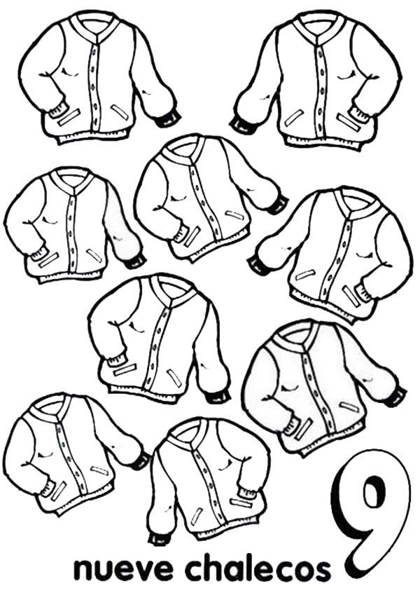 Learn Number 9 With Nine Jackets Coloring Page