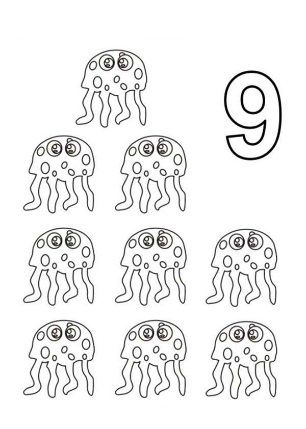 Learn Number 9 With Nine Jellyfish Coloring Page