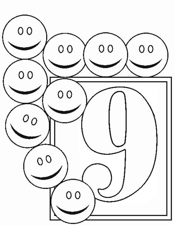 Learn Number 9 With Nine Smiley Faces Coloring Page