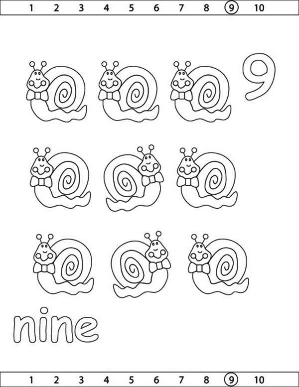 Learn Number 9 With Nine Snails Coloring Page