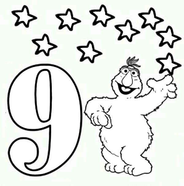 Learn Number 9 With Nine Stars In Sesame Street Coloring Page