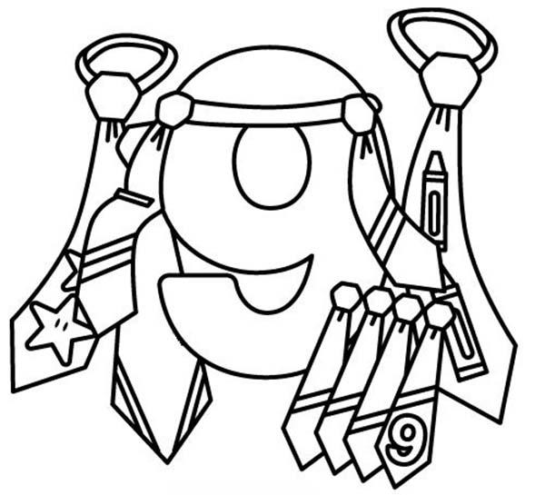 Learn Number 9 With Nine Ties Coloring Page