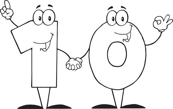 Learn To Count Number 10 Coloring Page