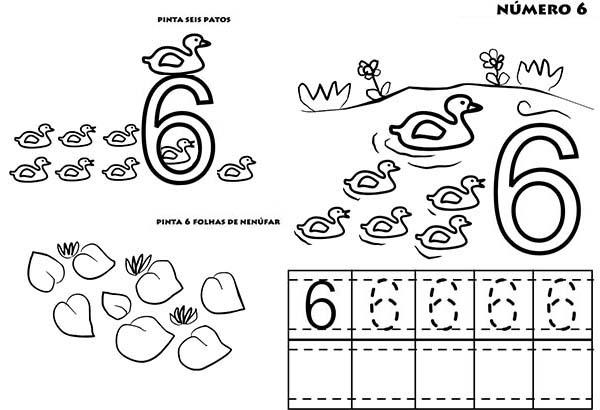 Learn To Count Number 6 Coloring Page