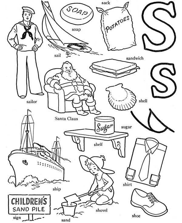 Learn Words For Letter S Coloring Page