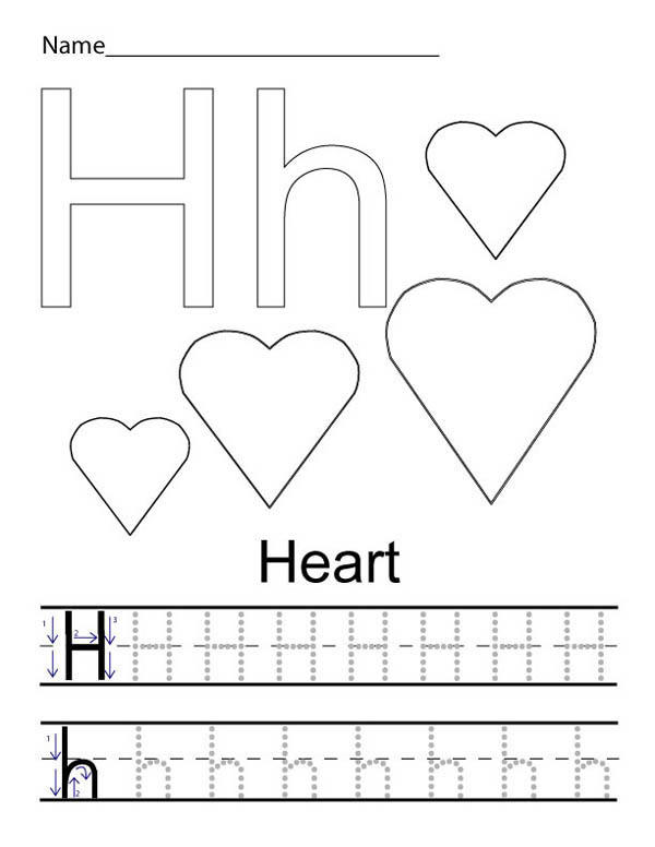 Learning Letter H For Heart Coloring Page