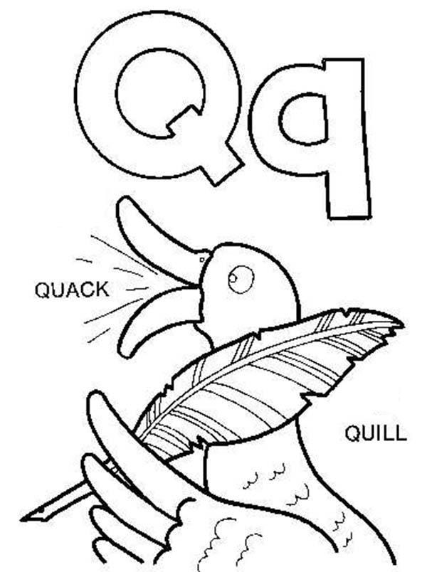 Learning Letter Q For Kids Coloring Page