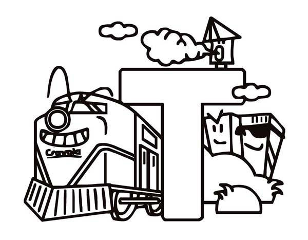 Learning Letter T Coloring Page