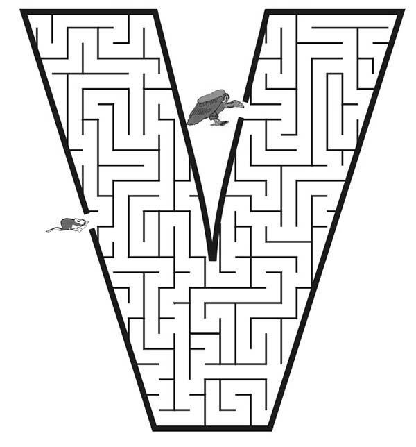 Learning Letter V Maze Coloring Page