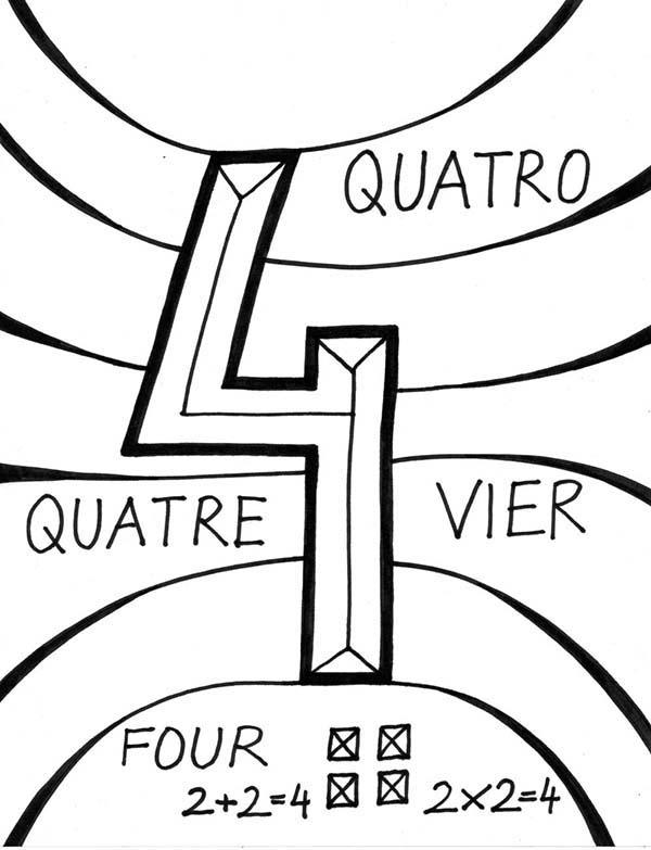 Learning Number 4 Coloring Page