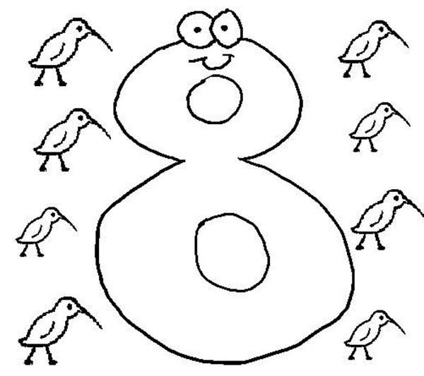 Learning Number 8 Coloring Page