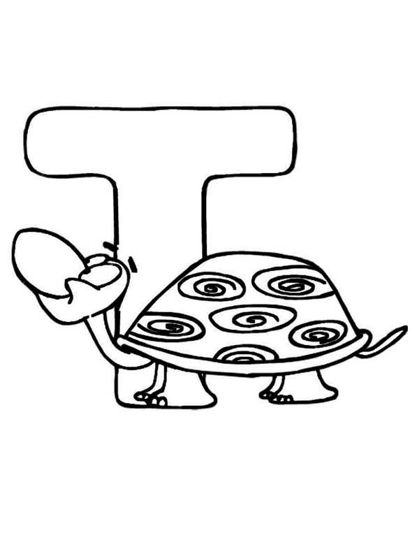 Learning Turtle Is For Letter T Coloring Page Aninal Edition