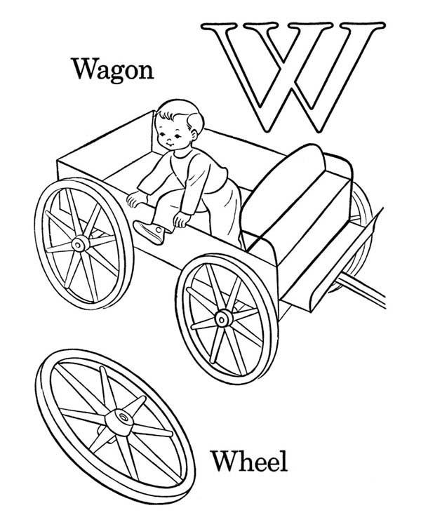 Learning Wagon For Letter W Coloring Page