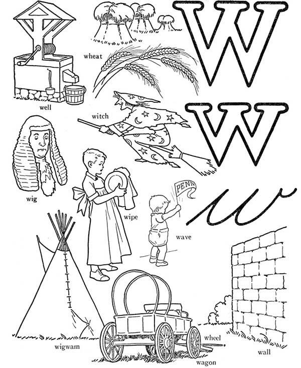 Learning Words From Letter W Coloring Page
