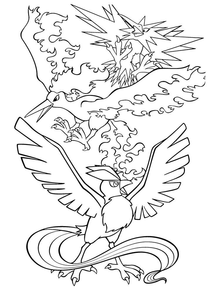 Legendary Pokemon Coloring Pages Birds