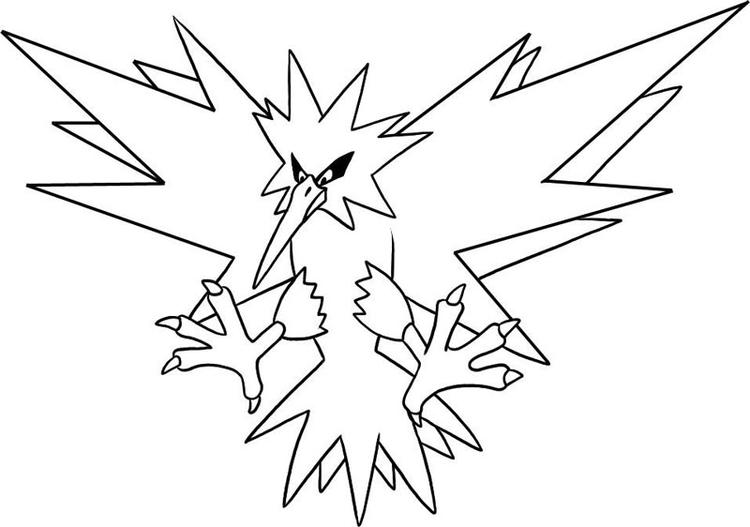 Legendary Pokemon Coloring Pages Zapdos