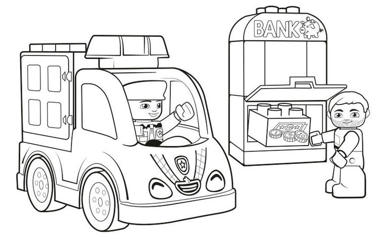 Lego Duplo Bank And Police Coloring Page