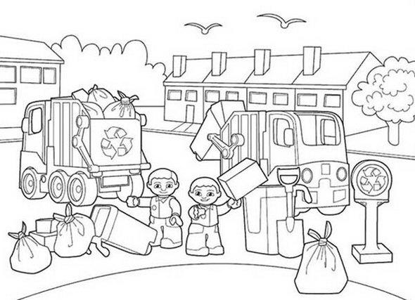 Lego Duplo Garbage Service Coloring Pages To Teach Kids The Importance Of Cleaning