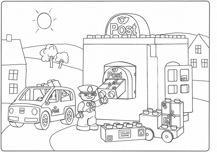 Lego Duplo Post Coloring Page