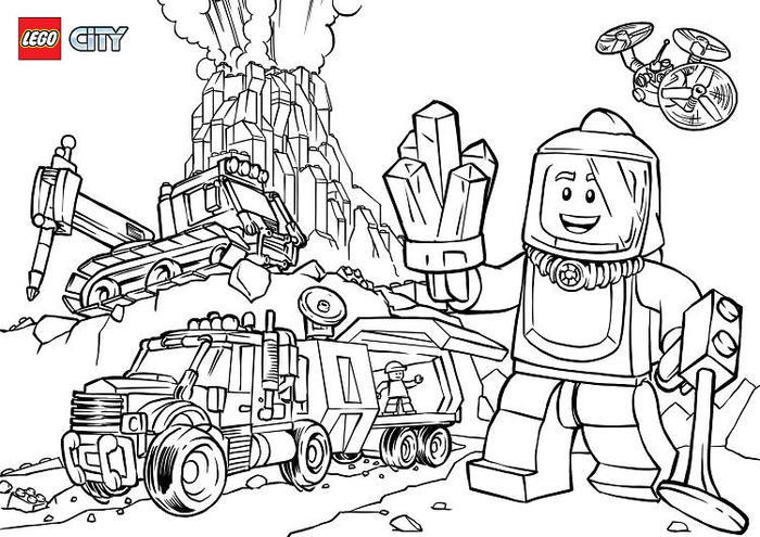 Lego Volcano Coloring Pages