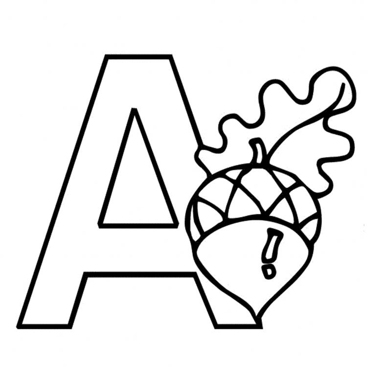 Letter A Coloring Pages A For Accorn