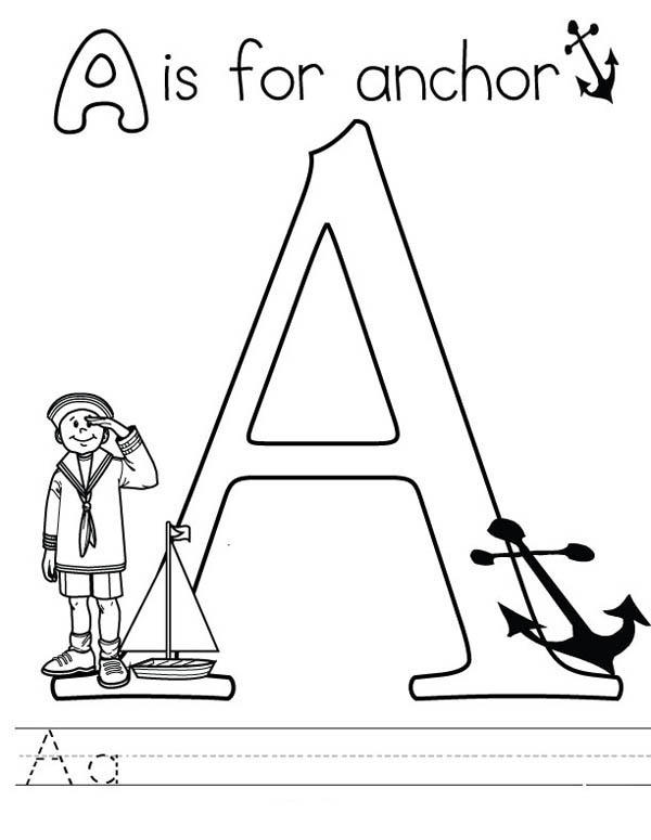 Letter A Coloring Pages A For Anchor