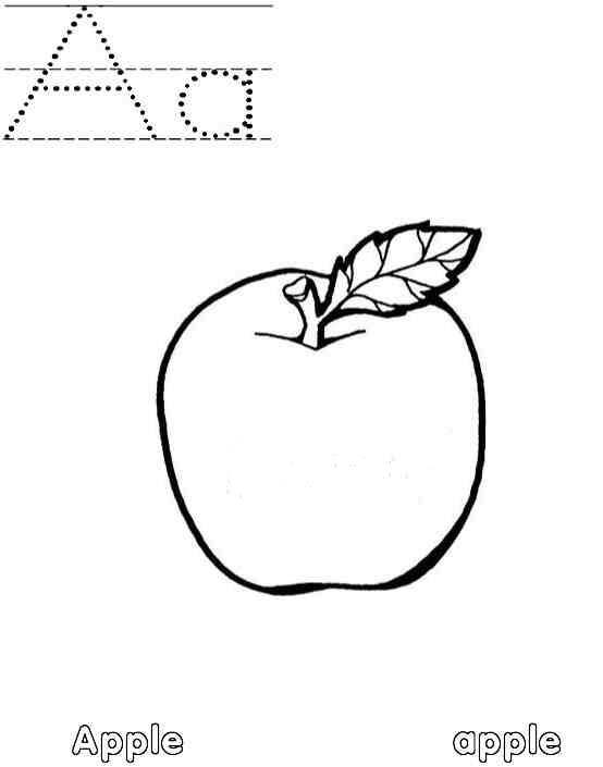Letter A Coloring Pages Apple Starts With A
