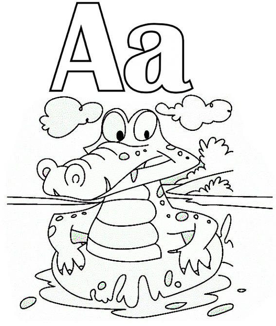 Letter A For Alligator Coloring Page - Coloring Ideas