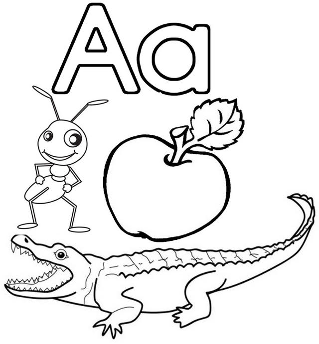 Letter A For Apple Ant And Alligator Coloring Page