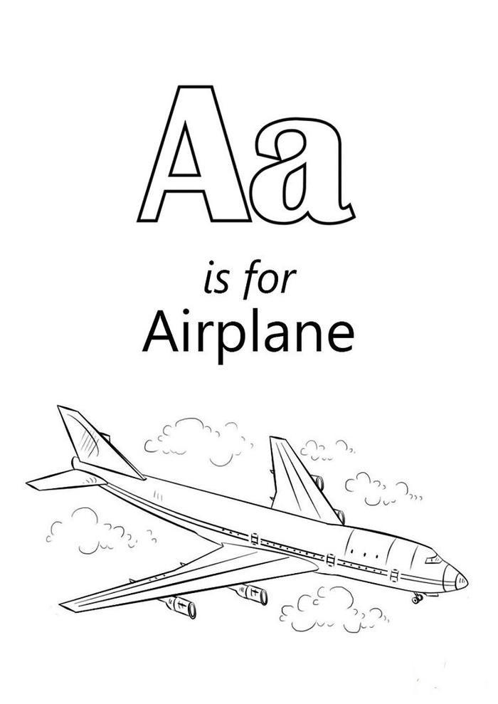Letter A Is For Airplane Coloring Pages
