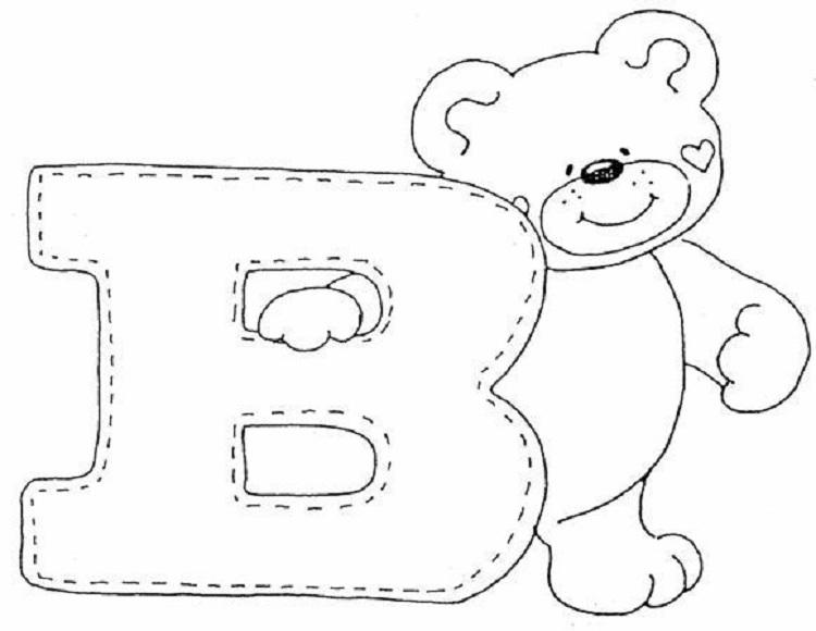 Letter B Bear Coloring Page