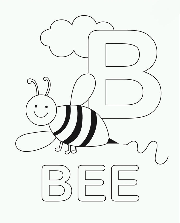 Letter Coloring Pages B For Bee