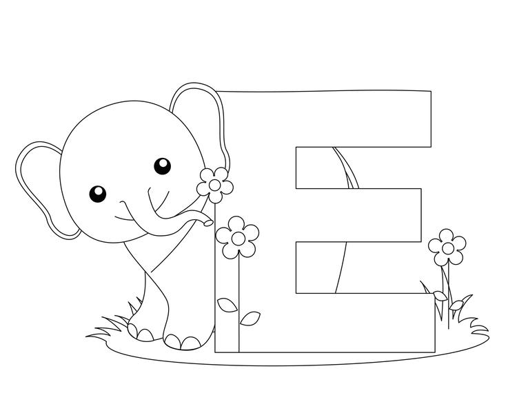 Letter Coloring Pages E Is For Elephant