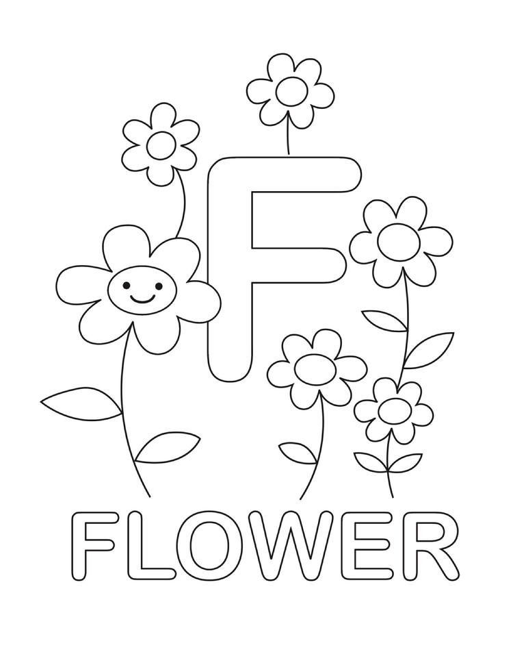 Letter Coloring Pages F For Flower