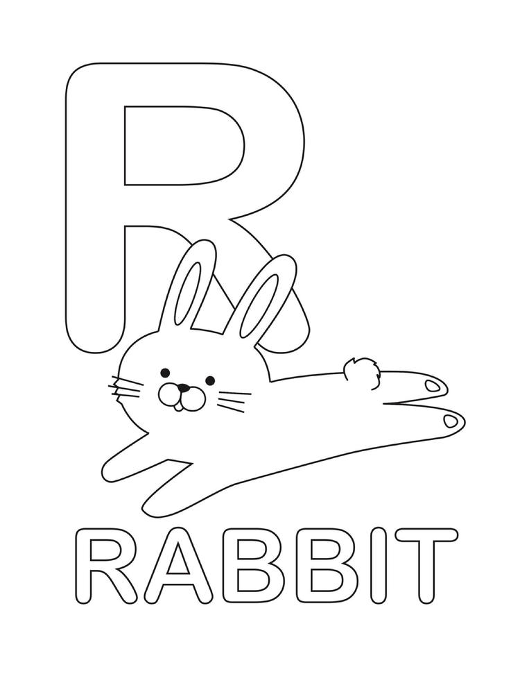 Letter Coloring Pages R For Rabbit
