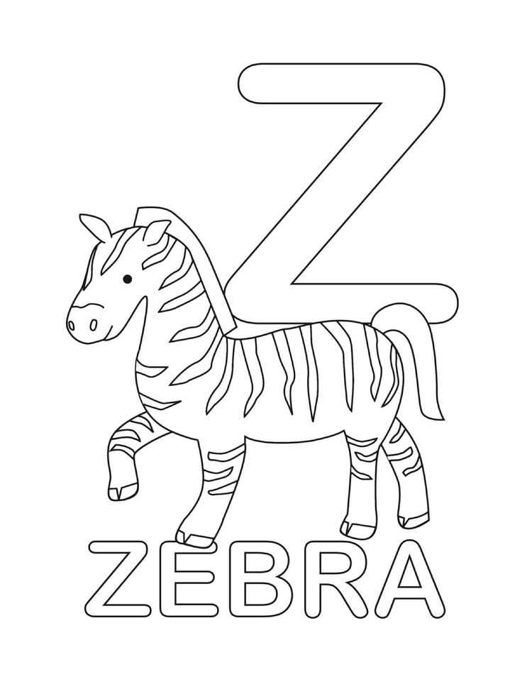 Letter Coloring Pages Z For Zebra