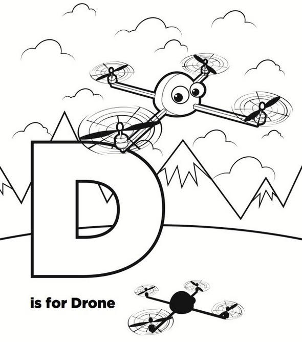 Letter D For Drone Coloring Page