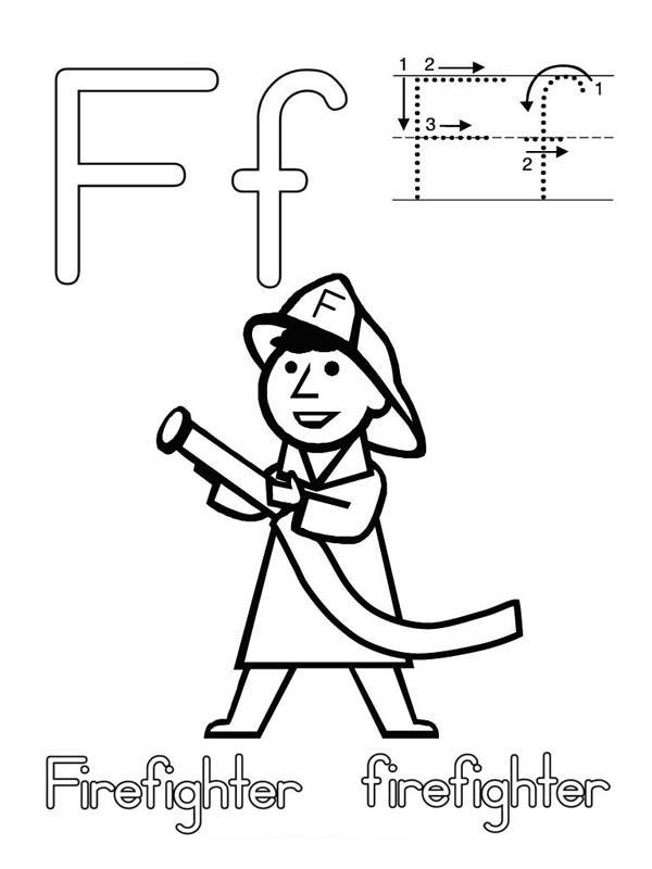 Letter F Is For Firefighter Coloring Page