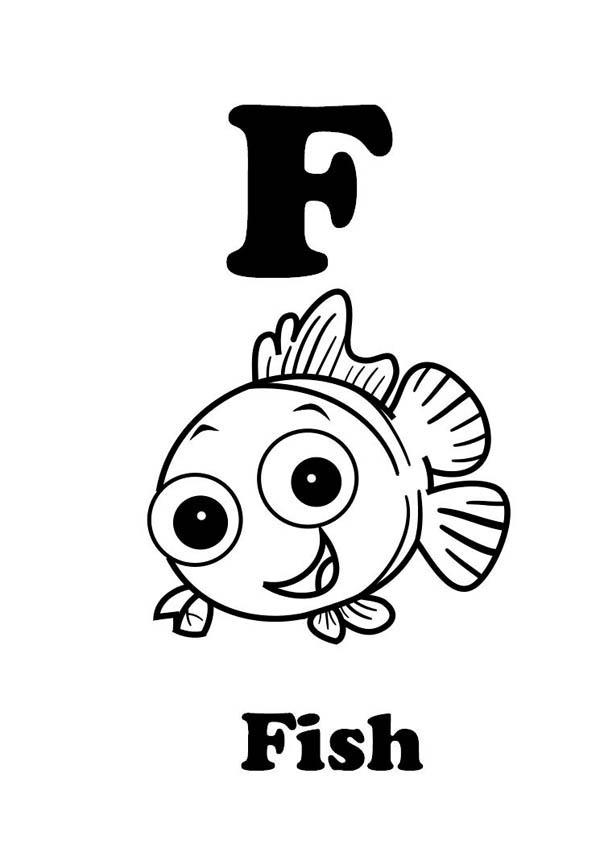 Letter F Is For Fish Coloring Page