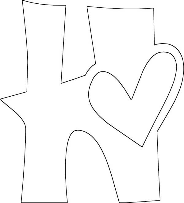Letter H For Heart Coloring Page