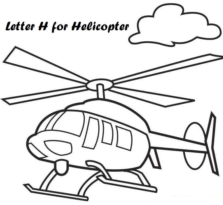 Letter H For Helicopter Coloring Pages